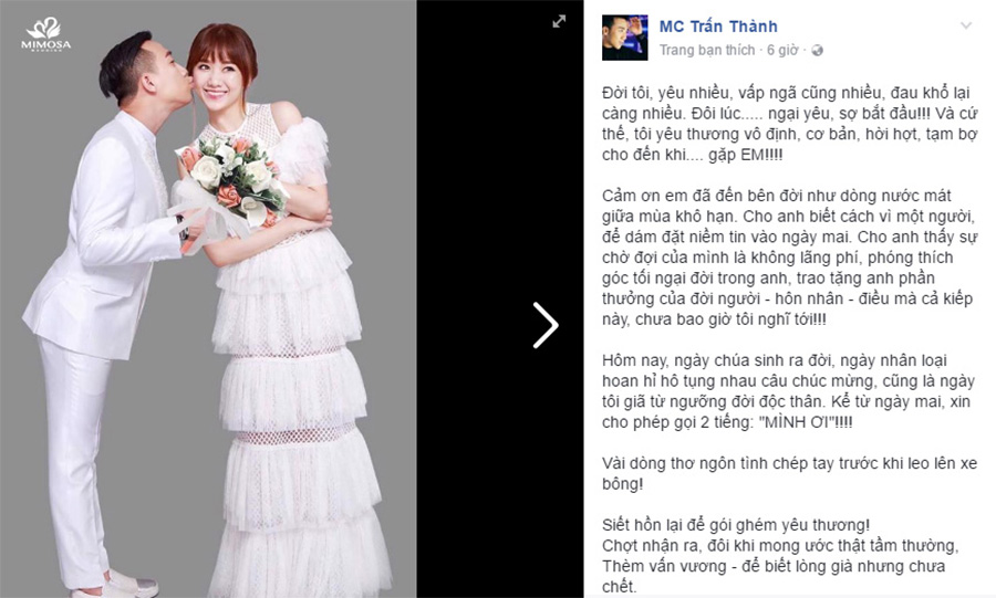 Sử dụng facebook để chia sẻ lời cảm ơn sau đám cưới
