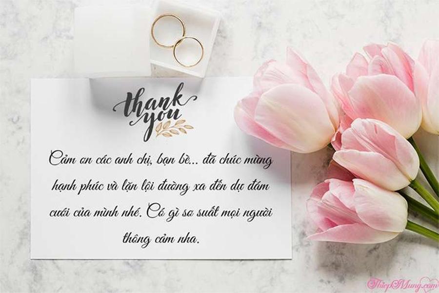 Mẫu tin nhắn cảm ơn sau đám cưới
